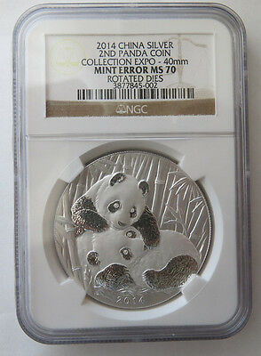RARE 2014 China Mint Error NGC MS 70 1oz Silver Rotated Dies 2nd Panda Coin Expo