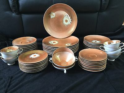 Antique Heinrich H & C Selb Handpainted China Made In Bavaria Germany 50 Piece