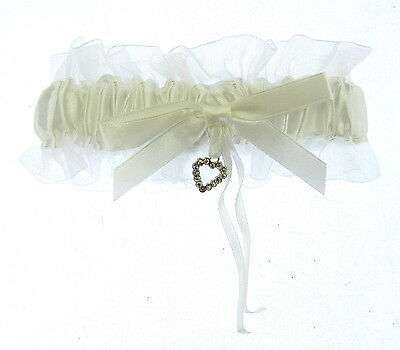 Ivory/White Satin Ribbon Garter with Glass Crystal Heart