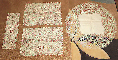 4 pieces of vintage lace table runner placemat doily cream color & embroidered