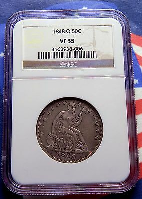 1848-O Silver Seated Liberty Hjalf Dollar Ngc Vf 35 - Only 20 Certified By Ngc!