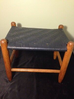"""Vintage Woven Cane Wooden Foot Stool/Bench/ Seat  """"BLUE"""""""
