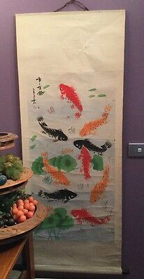 Vintage Retro Japanese Wall Scroll Koi Fish Hand Painted Unique Boho Hippy Rare