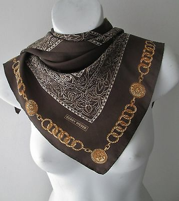 Vintage Small Gerry Weber Silk Neck Scarf ...Gold Chains.... (4367x)