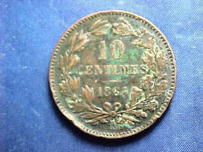 Luxembourg 1865-A 10 Centimes Bronze Coin