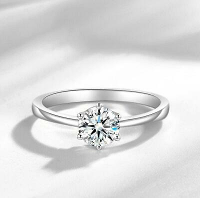 Six Claw 1 Ct Cubic Zirconia 925 Sterling Silver Engagement Solitaire Ring RS23