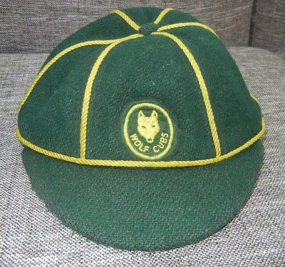 Vtg 50s 60s WOLF CUBS Boys Scout Badge Green WOOL BASEBALL HAT Youth Kids Size