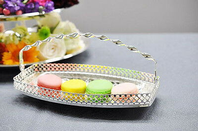 Queen Anne Silver Plated Gallery Macaron Sandwich Tray-Swing Handle