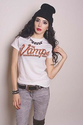 Official The Vamps 'Team Vamps' White Ladies Cotton T-Shirt Tee UK Size 10 M