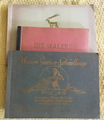 Lot of 3 1930's German Cigarette Tobacco Card Books, Complete, Antique Vintage