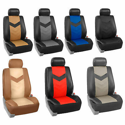 Leatherette Car Seat Covers Front Rear Full Set Synthetic Leather Auto 6 Colors
