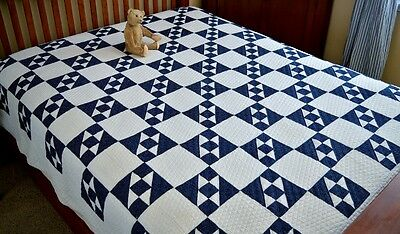 Antique Hand Stitched Blue & White Double X Variation Quilt Spectacular Quilting