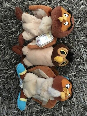 Lot of 3 Disney Winnie the Pooh's friend OWL plush STAR BEAN Disney store 7""