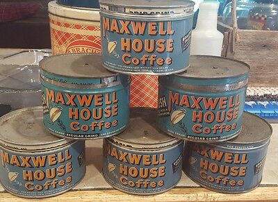 Vintage Maxwell House 1 lb. Coffee tins with lids - 6 for sale- buy one or all!