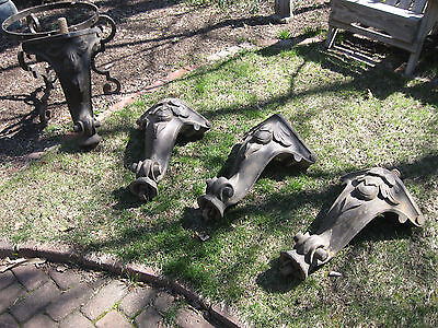4 Antique Pool Table Piano Melodeon Legs Ornate Carved Wood 1800s Re Purpose