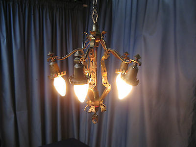 Antique Art Deco Nouveau 5 Light Solid Brass Hanging GOTHIC Lamp Chandelier