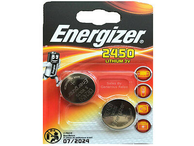 2 x Energizer CR2450 3V Lithium Coin Cell Battery 2450 DL2450 Expire Date 2024