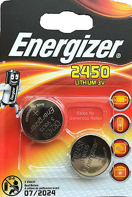 2 X Energizer CR2450 3V Lithium Coin Cell Battery 2450 DL2450 Expire 2024