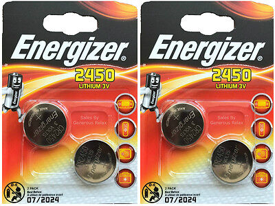4 X Energizer CR2450 3V Lithium Coin Cell Battery 2450 DL2450 Expire Date 2024