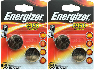 4 X Energizer CR2450 3V Lithium Coin Cell Battery 2450 DL2450 Pack of 2 Exp 2024