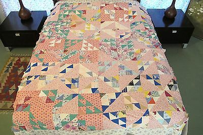 Vintage Feed Sack Machine Sewn GRAND RIGHT & LEFT Quilt TOP, Troubled Setting !