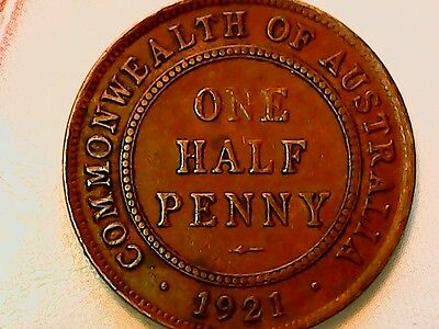 Australia 1/2 Penny, 1921 GREAT COND.