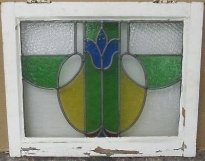 """OLD ENGLISH LEADED STAINED GLASS WINDOW Gorgeous Swag 22.5"""" x 18"""""""