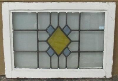 "OLD ENGLISH LEADED STAINED GLASS WINDOW Pretty Abstract Geometric 22.75"" x 16"""