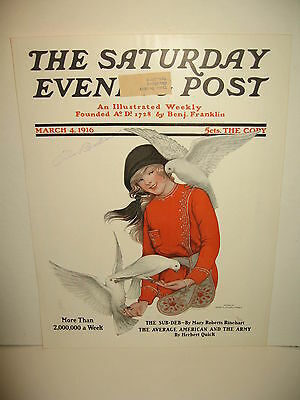 Saturday Evening Post Magazine March 1916 Cover Only Artist Weber Congoleum Rugs