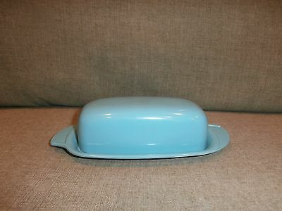 Vintage Boonton Melamine Turquoise Blue Butter Dish w/ Lid #520