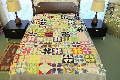 FULL Vintage Feed Sack & Other Cottons, Hand Sewn WHEEL OF MYSTERY Quilt TOP