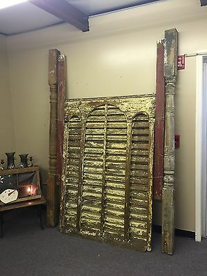 Large Louvered Barn Vent / Damper, Old Heavy Slats, With 2 Pillars / Columns