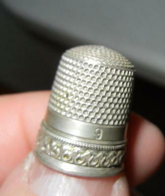Antique Fancy Band Simons Bros. Sterling Silver Sewing Thimble Size 9