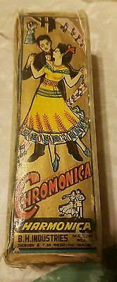 Vintage B. H. Industries India Made Chromonica Harmonica in Original Box 194061