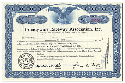 Brandywine Raceway Association, Inc. Stock Certificate