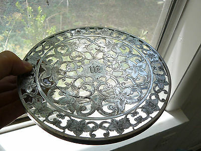 Webster Sterling Silver Lattice & Flowers Overlay Over Glass Trivet Engraved