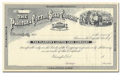 Planter's Cotton Seed Company Stock Certificate
