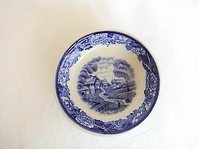 Wood & Sons Salt Dish Enoch Woods English Scenery Blue White circa 1917