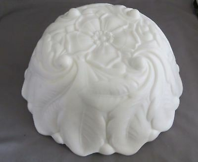 White Milk Glass Wild Rose with Leaves & Berries Bowl