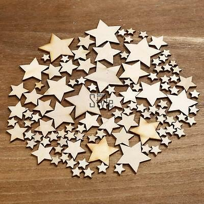 100pcs Rustic Wooden Wood Star Shape Wedding Table Scatter Decoration Crafts New