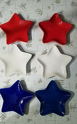 Red White and Blue Star 7 inch Plates Dishes 4th of July Patriotic Set of 6