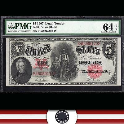 1907 $5 Legal Tender Note Large Size Bill WOODCHOPPER PMG 64 EPQ Fr 87 E46089172