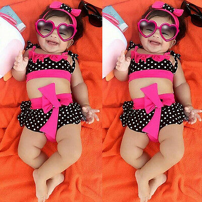 New Toddler Baby Girl Kid Swimsuit Bathing Tankini Bikini Set Swimwear Beachwear