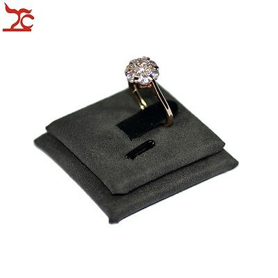 Grey Suede Square Ring Sheet Ring Organizer Jewelry Display Stand Ring Holder