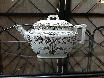 T & R Boote Tea Pot Made In England White Brown