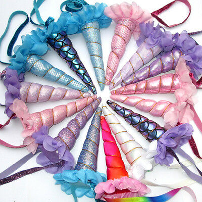 USA Magical Unicorn Horn Mermaid Hair Party Kids Head band Fancy Dress Costume