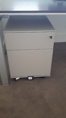 TWO DRAWER FILING CABINET GREY LOCKABLE on castor wheels grey color
