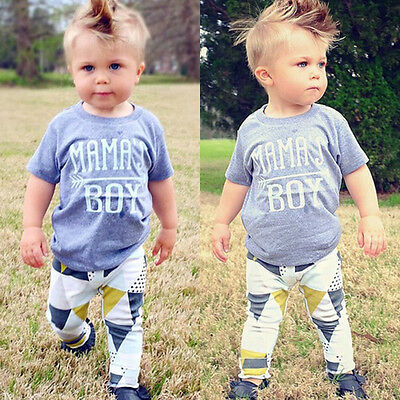 US Newborn Baby Mama's Boy T-shirt+ Long Pants Outfit Clothes Playsuit 18-24M 06