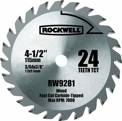 """Rockwell 4.5"""" 24-Teeth TCT Compact Circular Saw Blade For Wood Plastic Composite"""