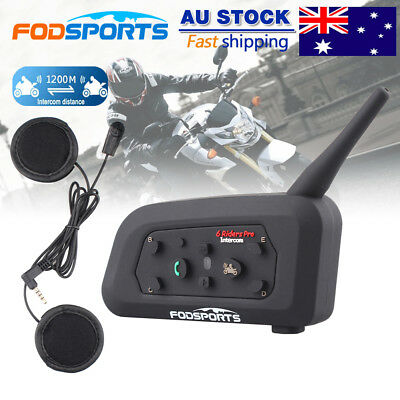 V6 1200M Motorcycle Intercom Helmet Interphone Bike Bluetooth Headsets 6 Riders